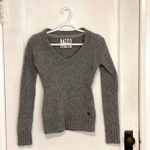 Grey TNA Wool V-Neck Sweater